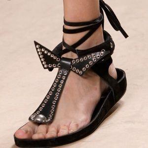 Black suede bow front sandals